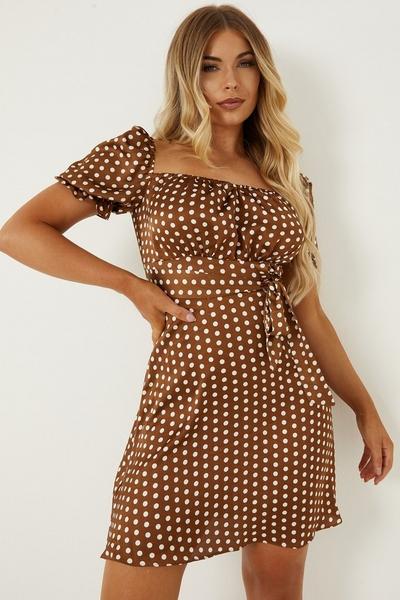 Petite Rust Polka Dot Skater Dress