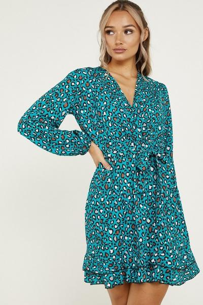 Teal Leopard Print Skater Dress