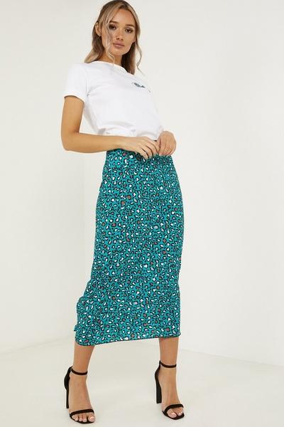Teal Leopard Print High Waist Skirt