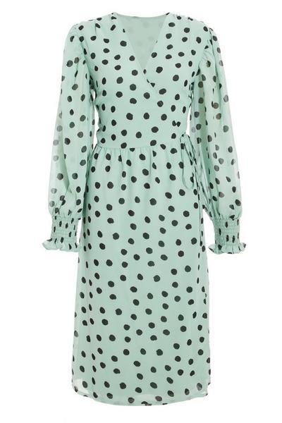 Mint Polka Dot Wrap Midi Dress
