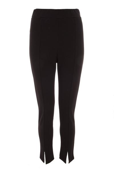 Black High Waist Split Hem Trouser