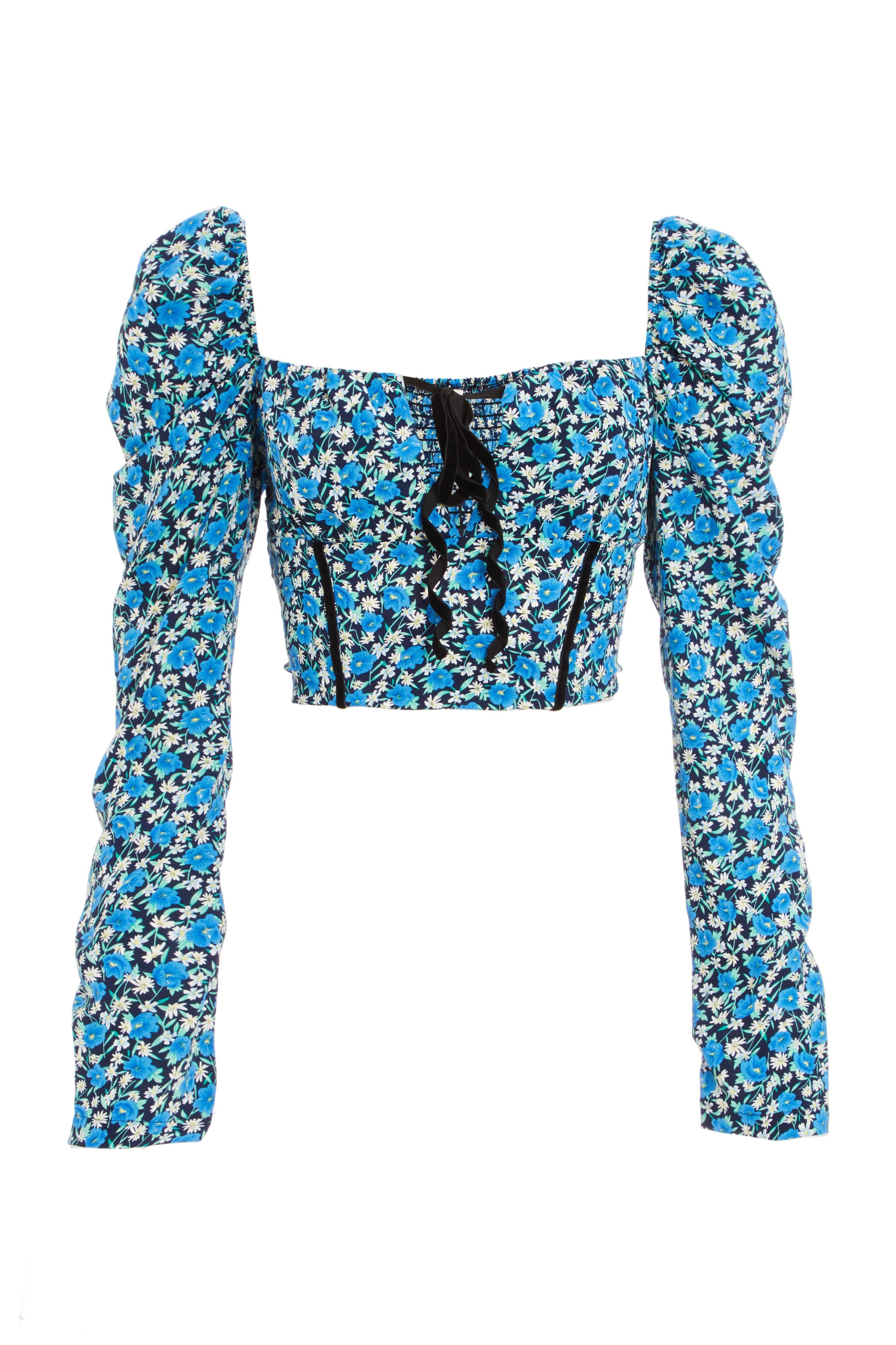 Royal Blue Floral Corset Crop Top