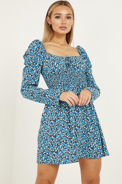 Royal Blue Floral Shirred Dress