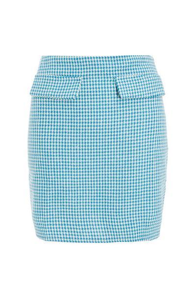 Blue Dog Tooth High Waist Skirt