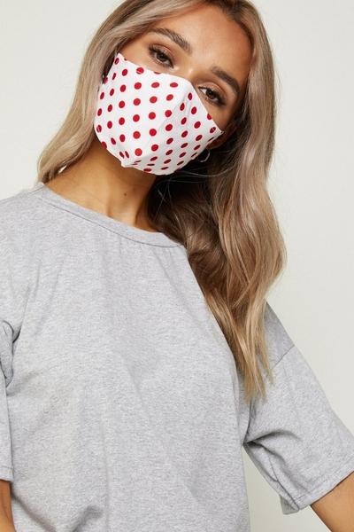 White & Red Polka Dot Fashion Face Mask