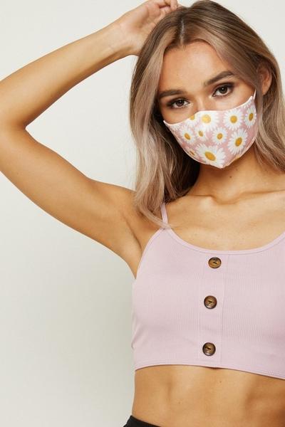 Pink Daisy Print Fashion Face Mask