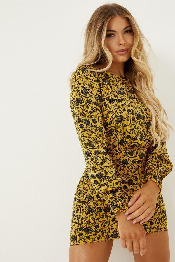 Petite Mustard Floral Long Sleeve Dress