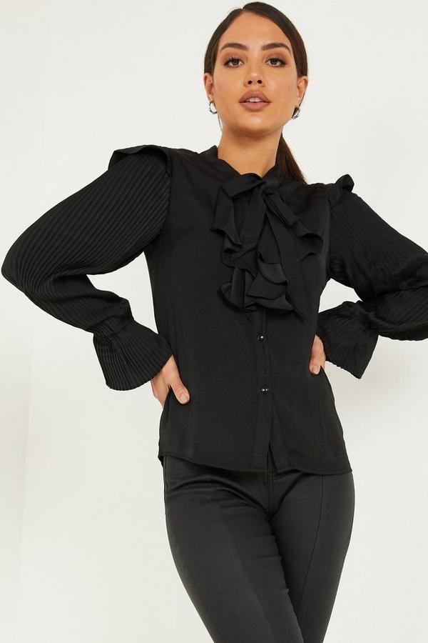 Black Satin Pleated Sleeve Blouse