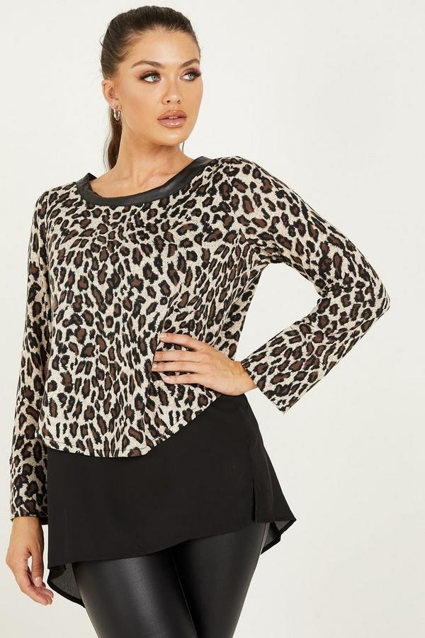 Tan Leopard Print Light Knit Top