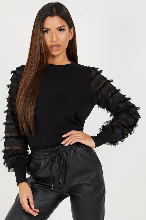 Black Knitted Fringe Sleeve Jumper