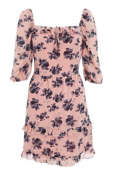 Pink & Navy Floral Skater Dress