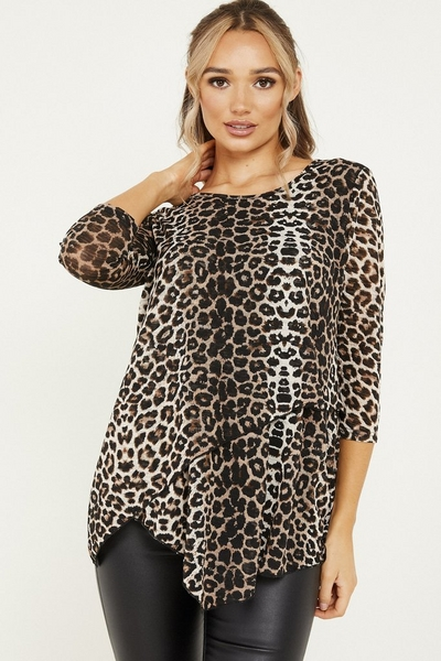 Brown Leopard Print Light Knit Top