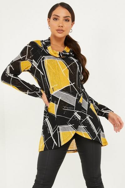 Mustard Light Knit Abstract Print Top