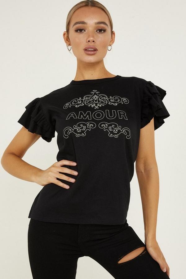 Black Frill Slogan T Shirt