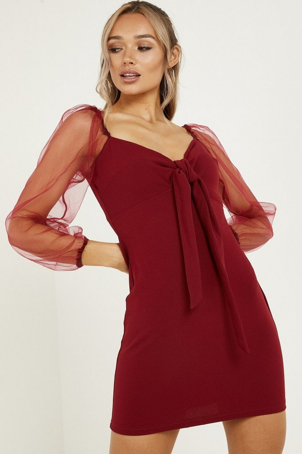 Berry Sweetheart Mesh Bodycon Dress