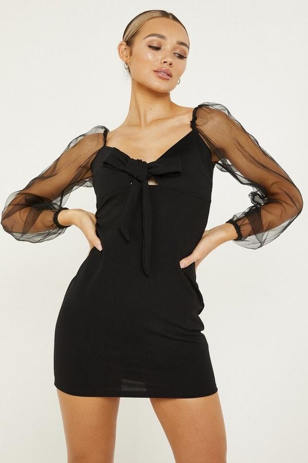 Black Sweetheart Mesh Bodycon Dress