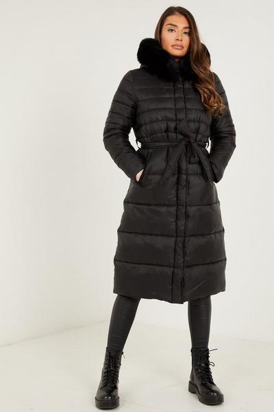 Black Padded Faux Fur Hooded Coat