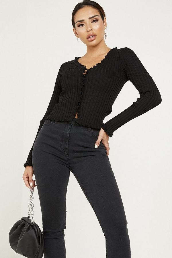 Black Knitted Frill Cardigan