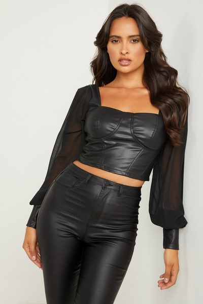 Black Faux Leather Corset Crop Top