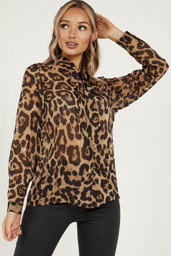 Brown Leopard Print Chiffon Shirt