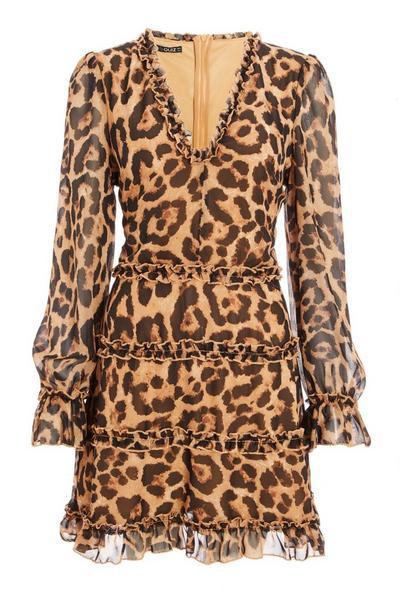 Brown Leopard Print Tiered Frill Dress