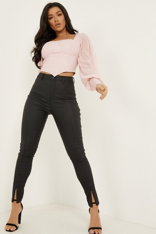 Black Faux Leather Skinny Jeans