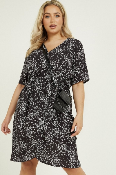 Curve Black Floral Wrap Midi Dress