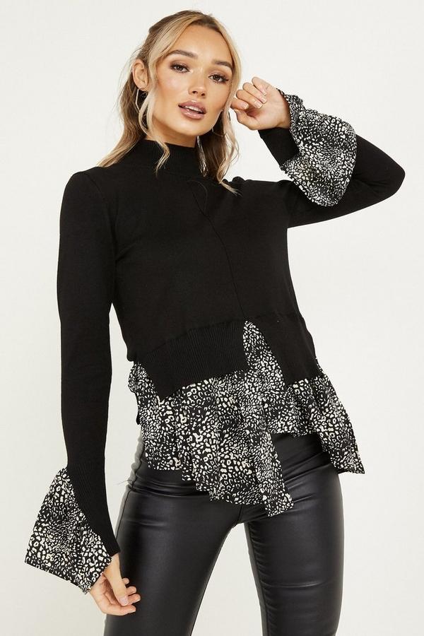 Black Animal Print Knit Jumper