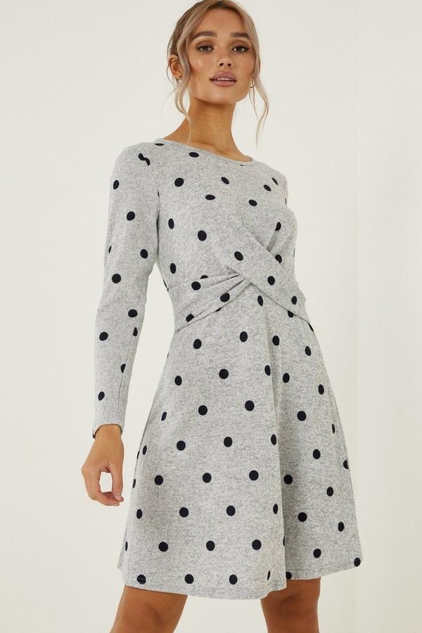 Grey & Black Polka Dot Knot Dress