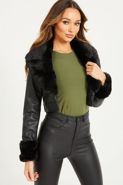 Black Faux Leather Crop Jacket