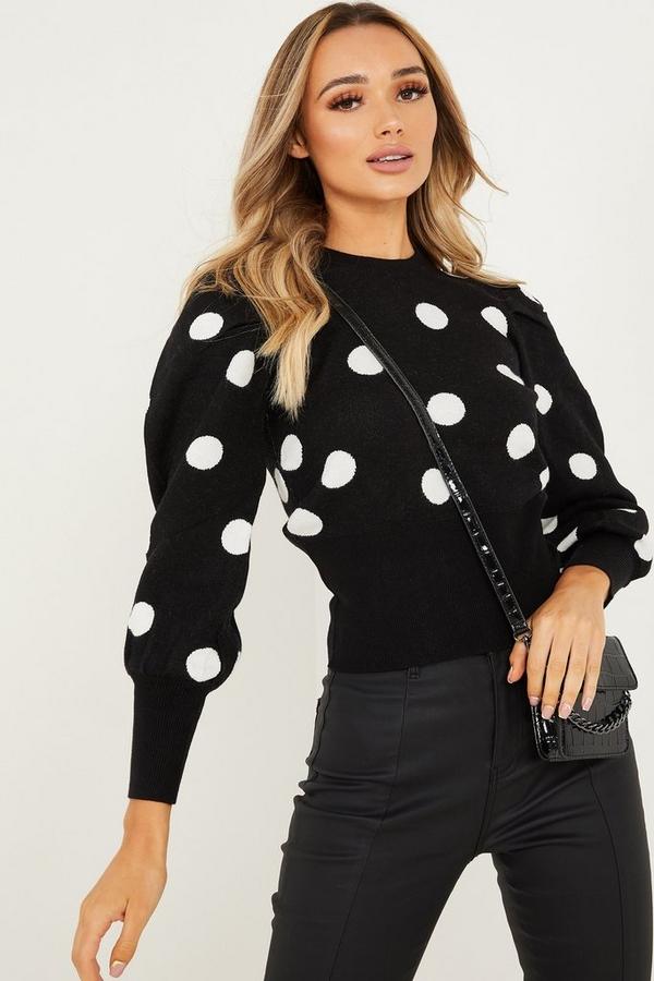 Black & White Knitted Polka Dot Jumper