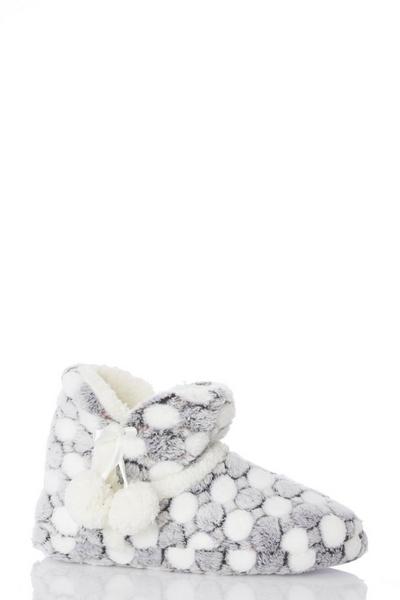 Grey Spot Slipper Boot