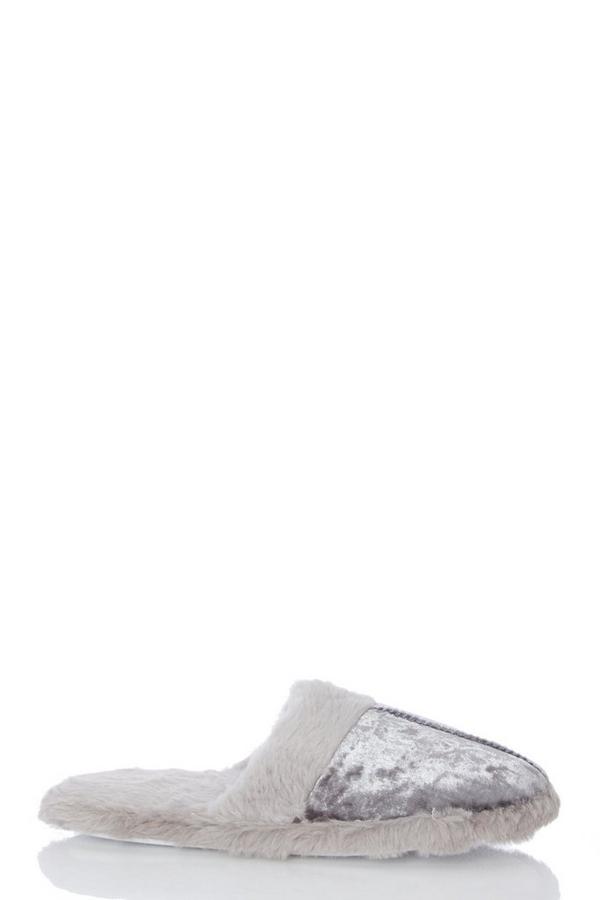 Grey Velvet Mule Slippers
