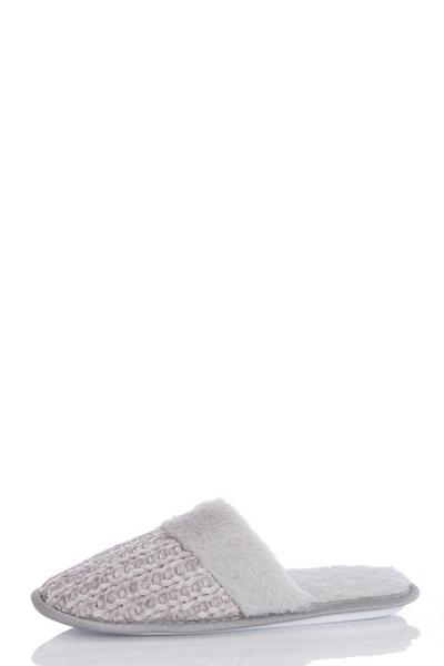Grey Knitted Mule Slippers