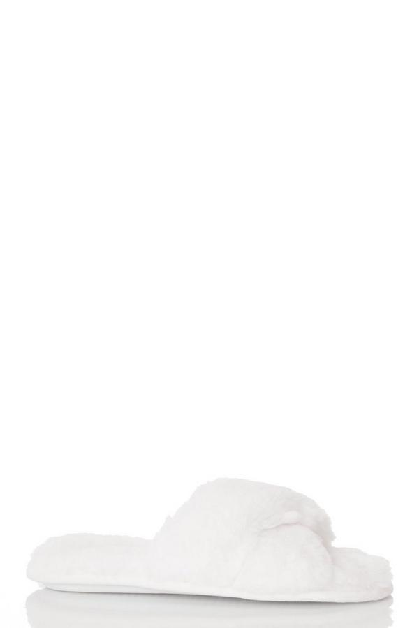 Cream Fluffy Cross Slippers