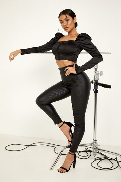 Black Faux Leather High Waist Trousers