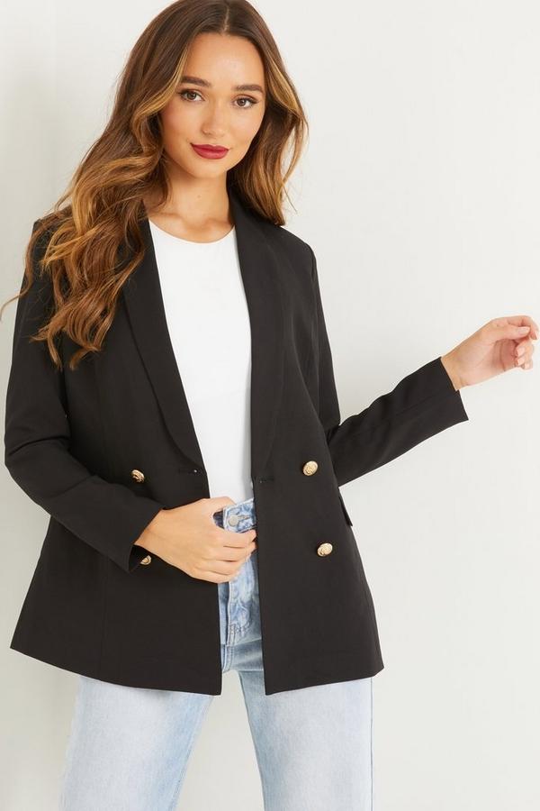 Black Gold Button Blazer Jacket