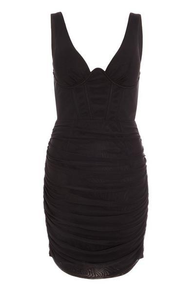 Black Mesh Ruched Bodycon Dress