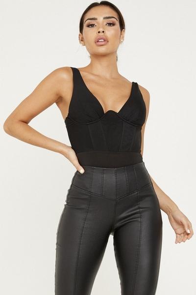 Black Mesh Corset Bodysuit