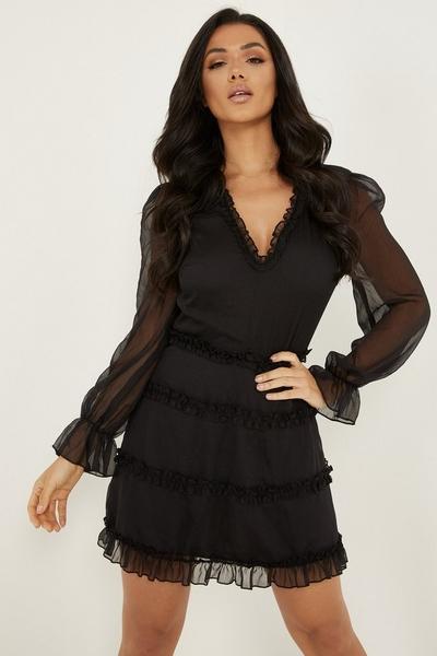 Black Mesh Ruffle Skater Dress