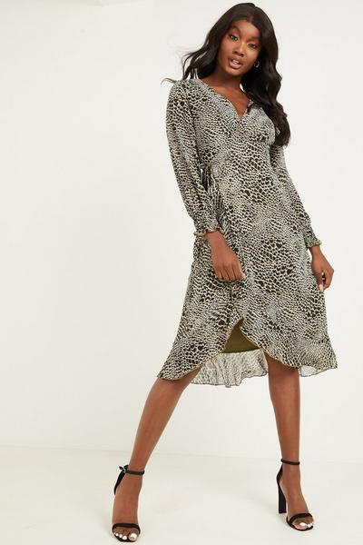 Khaki Chiffon Animal Wrap Midi Dress