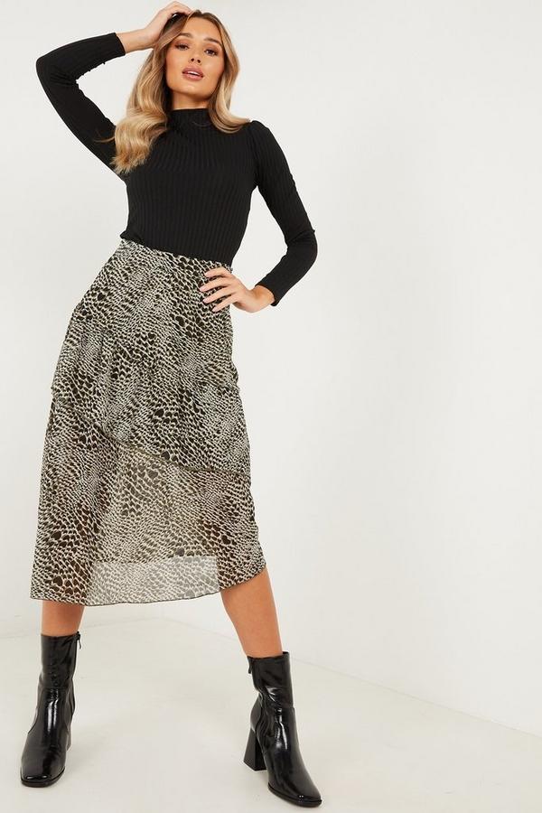 Khaki Chiffon Animal Print Midi Skirt