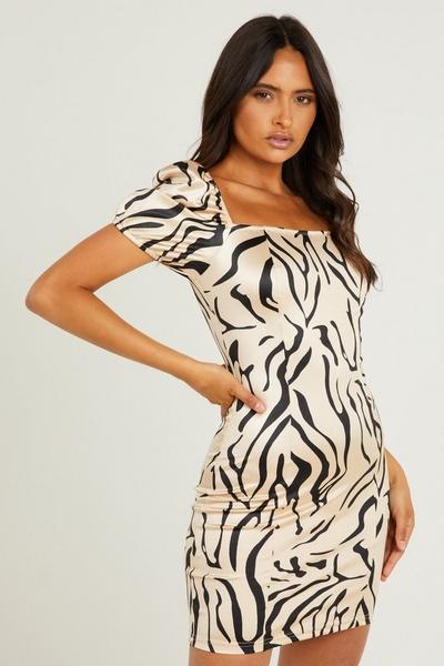 Stone Zebra Print Puff Sleeve Dress