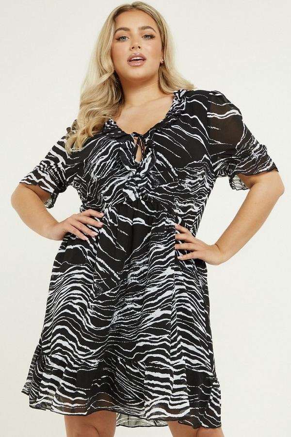 Curve Black & White Zebra Print Dress