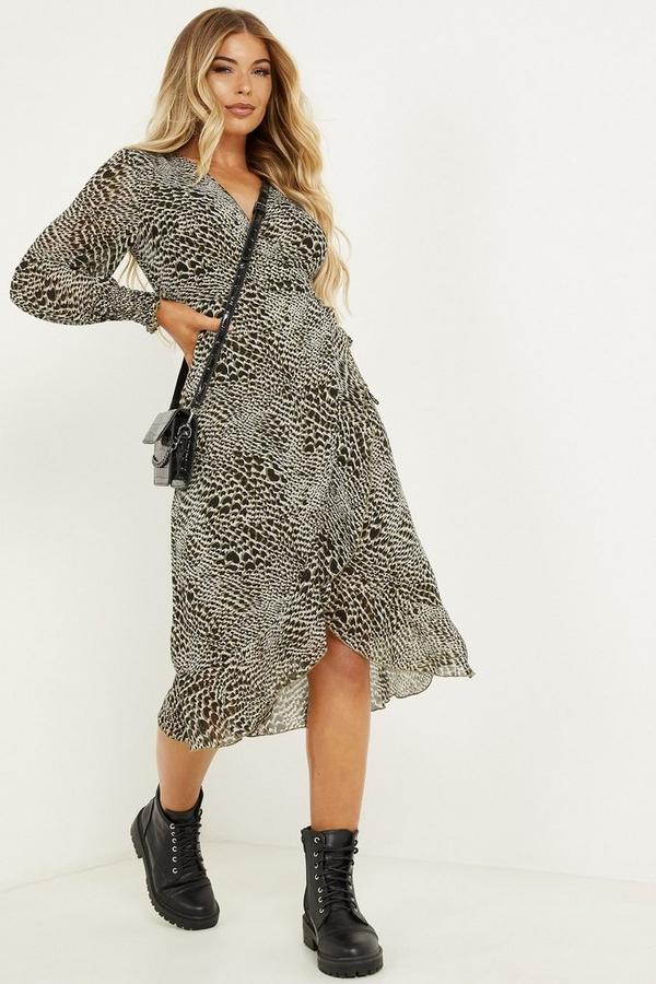 Petite Khaki Chiffon Animal Midi Dress