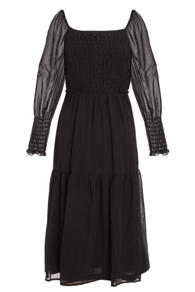Black Chiffon Shirred Tiered Midi Dress