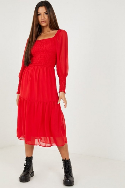 Red Chiffon Shirred Tiered Midi Dress