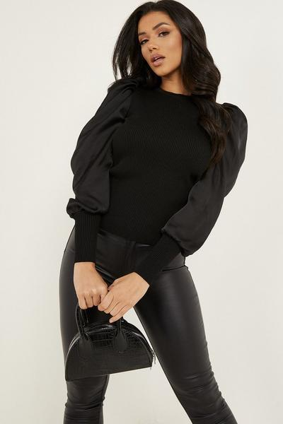 Black Knitted Satin Puff Sleeve Jumper