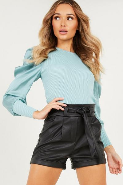 Sage Knitted Satin Puff Sleeve Jumper