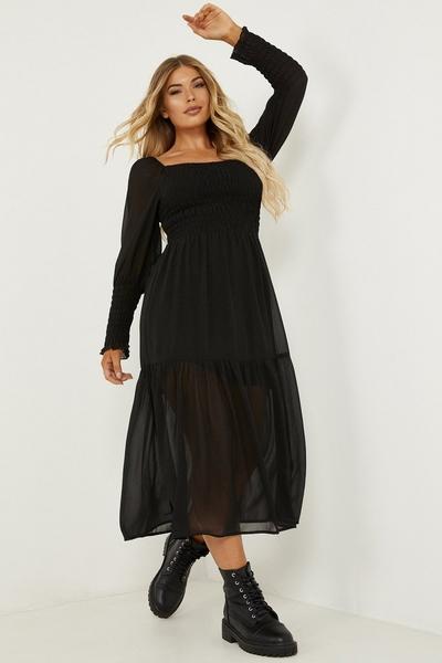 Petite Black Chiffon Shirred Tiered Midi Dress